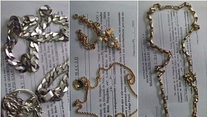 Casal foi preso em posse de cordão de ouro, moto, drogas e dinheiro