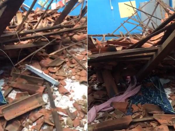 Teto da escola municipal  Gonçala das Neves Pereira desabou