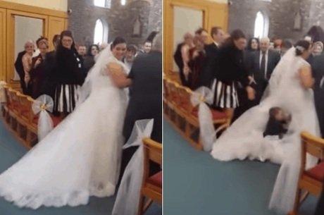 Menino pula em vestido de noiva da tia e vídeo viraliza na web (Crédito: Reprodução)