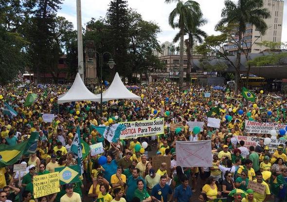 Protesto em Joinville, no estado de Santa Catarina