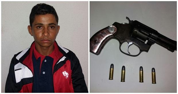 Jovem preso com arma de fogo (Crédito: Divulgação)