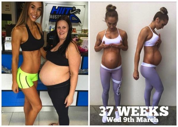 Foto de grávidas com um mês de diferença viraliza na web (Crédito: Reprodução)