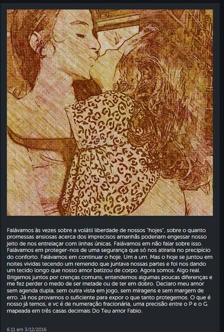 Fábio também se declarou para atriz (Crédito: Reprodução/ Instagram)