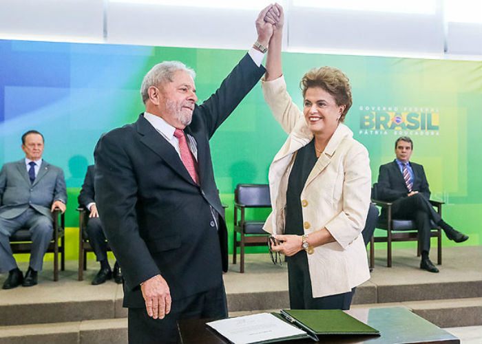Dilma e Lula durante posse hoje  (Crédito: Agencia Brasil )