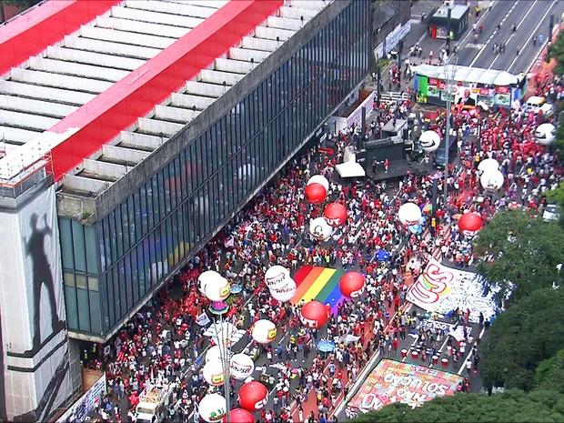 Protesto a favor de Dilma  (Crédito: Folhapress)