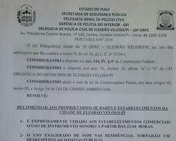 Portaria expedida pelo DP de Elesbão Veloso inibe som automotivo