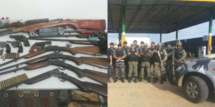 Armas apreendidas pelos polciais de Vila Nova do Piauí (Crédito: Divulgação)