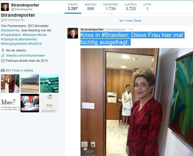 O repórter do jornal alemão Die Zeit Thomas Fischermann publicou no Twitter f (Crédito: Divulgação)