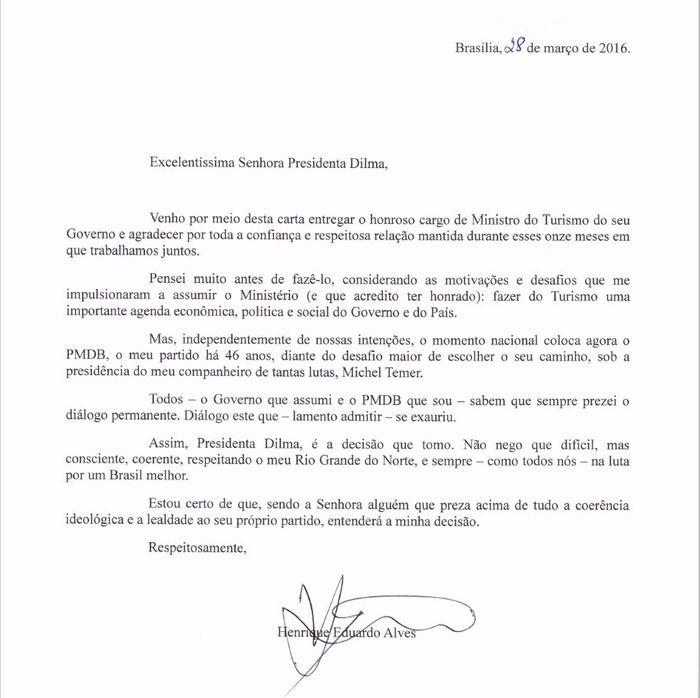 Ministro do Turismo enviou carta para Dilma (Crédito: Divulgação )