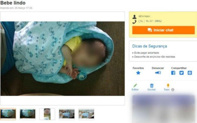 Bebê foi posto a venda em site