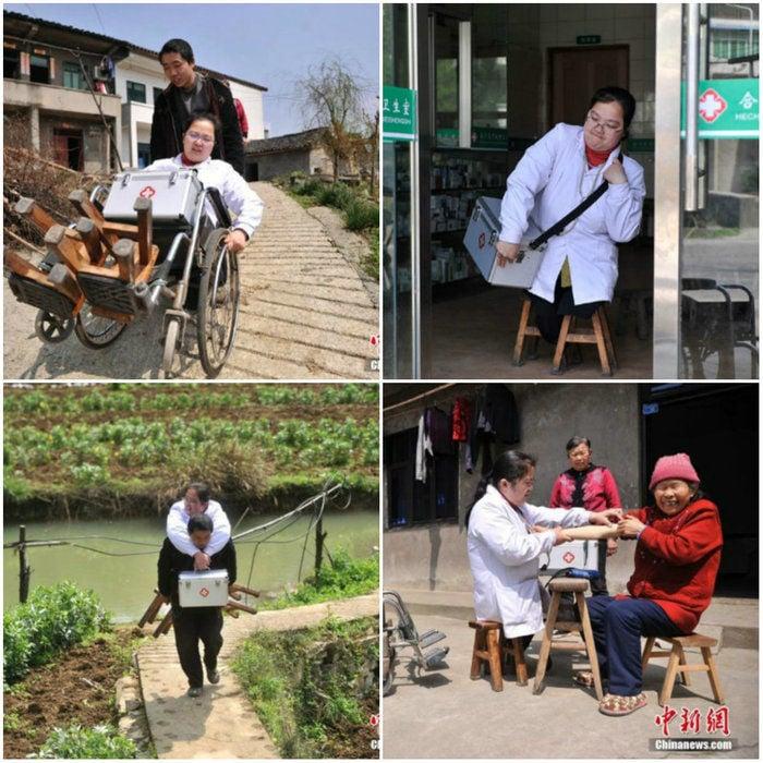 Médica sem pernas trabalha em cima de bancos há mais de 15 anos (Crédito: Reprodução)