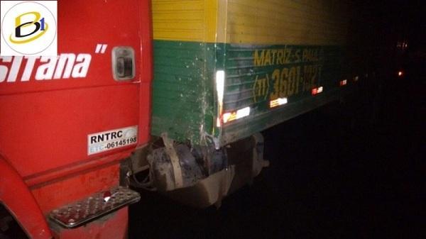 Caminhão envolvido no acidente que vitimou