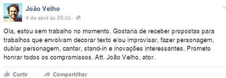 Postagem de João Velho  (Crédito: Divulgação)
