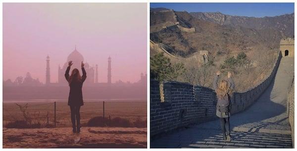 Taj Mahal, na Índia, e a Grande Muralha da China