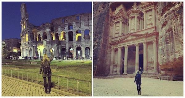 O Coliseu, na Itália, e Petra, na Jordânia