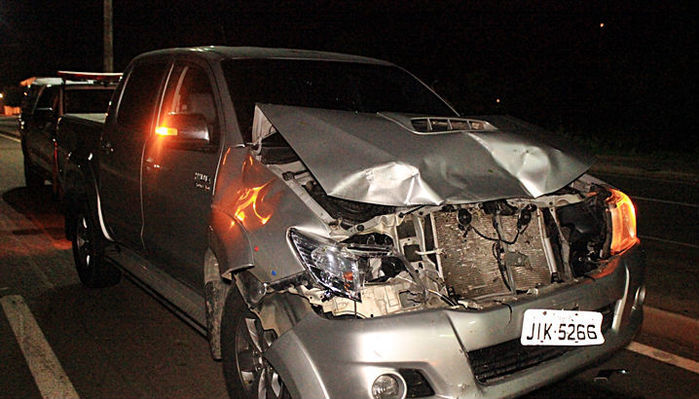 Hilux ficou parcialmente destruída após colisão com cavalo na BR-316