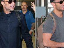 Com chinelo, Ricky Martin desembarca em SP com namorado bonitão