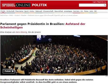 """site da revista Der Spiegel, disse que o Congresso brasileiro mostrou sua """"verdadeira cara"""""""