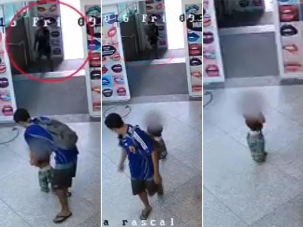 Câmera mostra criança sendo abandonada no Shopping Rio Sul  (Crédito: Reprodução)