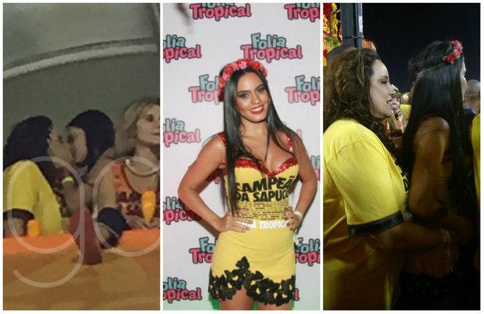 Elas foram fotografadas dando um beijo no carnaval