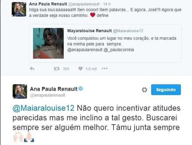 Ana Paula agradece fã que tatuou seu nome (Crédito: Twitter )