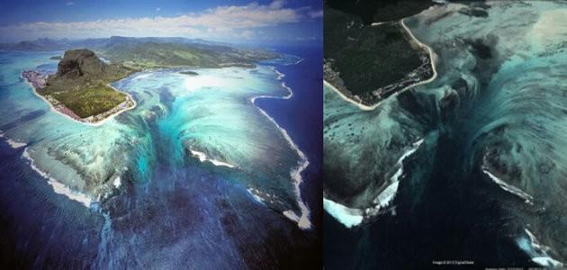 Fotos das Ilhas Maurício e sua linda cachoeira dentro do mar