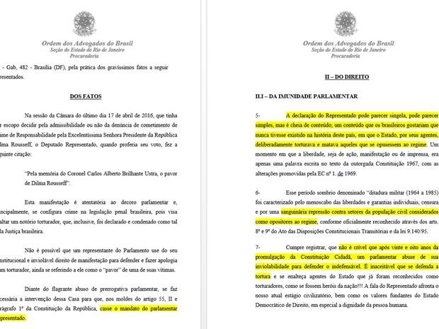 Documento da OAB diz que deputado Jair Bolsonaro 'defende o indefensáve'