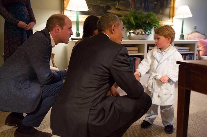 Principe George com Barack Obama (Crédito: Reprodução)