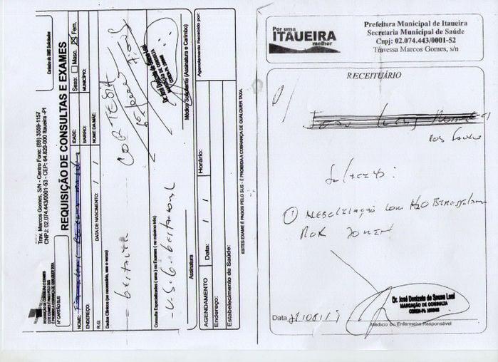 Receituários e carimbos assinadas por enfermeiros de Itaueira