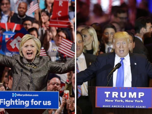 Hillary Clinton e Donald Trump (Crédito: Reprodução)
