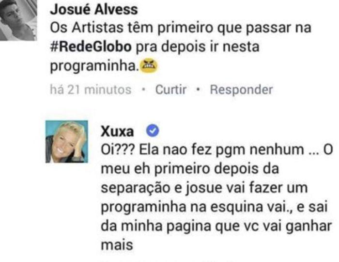 Xuxa foi alfinetada por internauta  (Crédito: Reprodução/ Facebook )