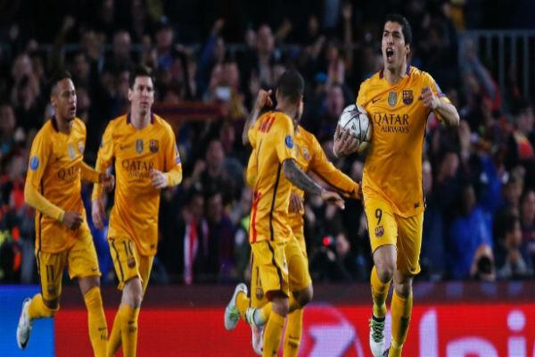 uárez fez os dois gols do Barcelona (Crédito: Sérgio Perez - Reuters)