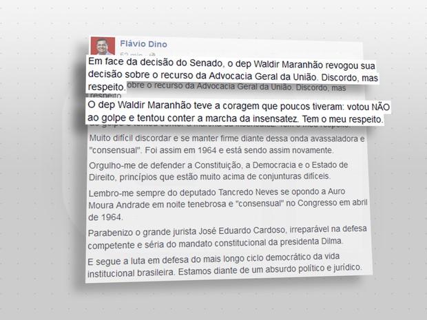 Postagem de Flávio Dino (Crédito: Reprodução)