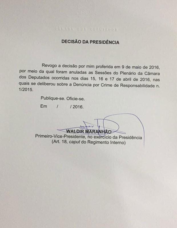 Nota de Waldir Maranhão (Crédito: Reprodução)