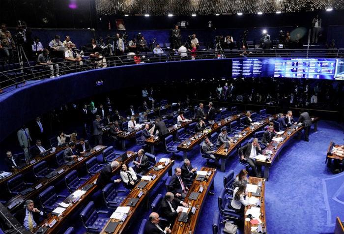 Sessão de votação no Senado do afastamento temporária da Presidente Dilma