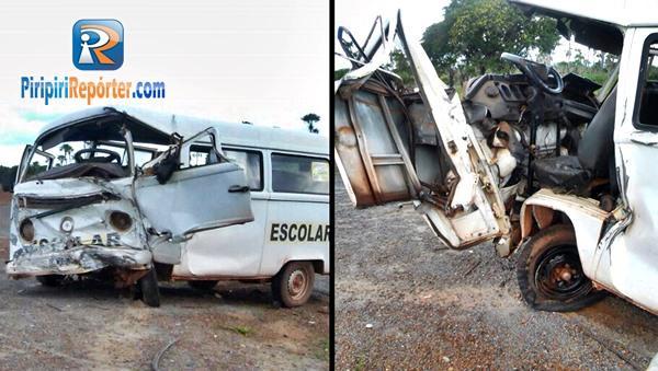 Colisão de carro e Kombi escolar deixa 7 feridos (Crédito: Piripiri Repórter)