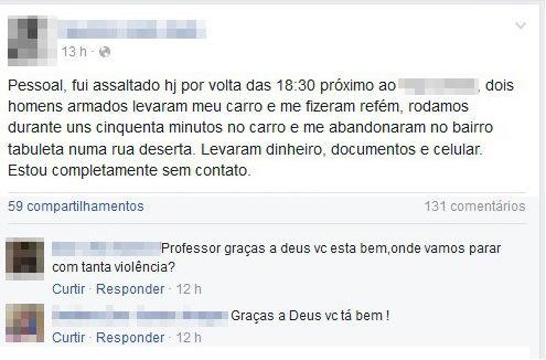Professor usou uma rede social para relatar o ocorrido (Crédito: Reprodução/ Facebook)