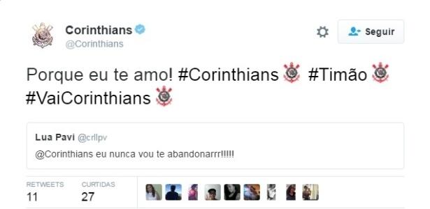 Ação do Corinthians no Twitter (Crédito: Reprodução)