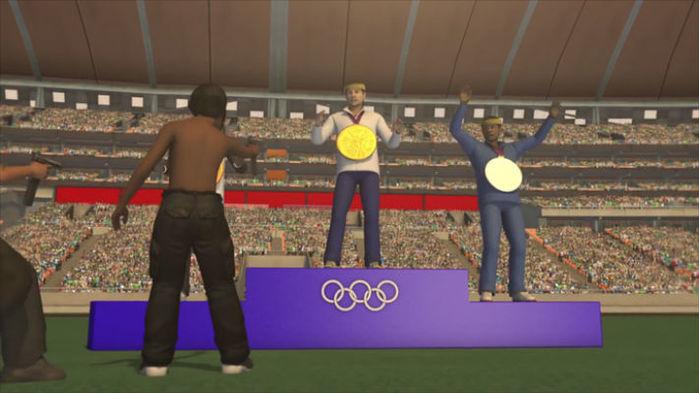 Homens assaltam atletas em animação (Crédito: Reprodução)