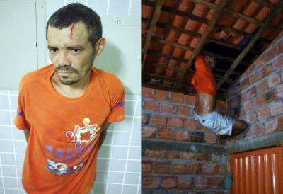 Assaltante ficou preso em telhado (Crédito: Reprodução)