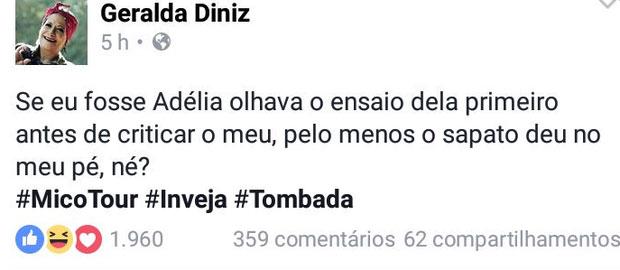 Geralda detonou Adélia (Crédito: Reprodução/ Facebook )