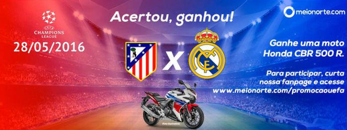 Meionorte.com faz bolão de moto CBR para jogo entre Real e Atlético