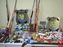 Operação realizada na Inhuma apreende armas, drogas e munições