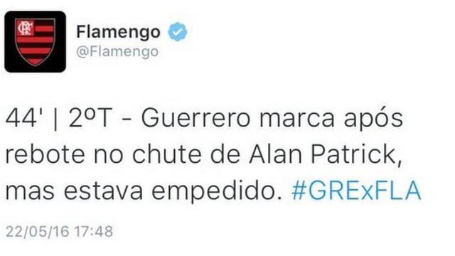 Postagem do Flamengo no Twitter (Crédito: Reprodução)