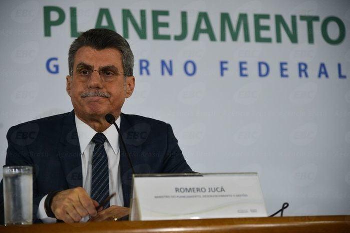 Romero Jucá em entrevista coletiva (Crédito: Agência Brasil )