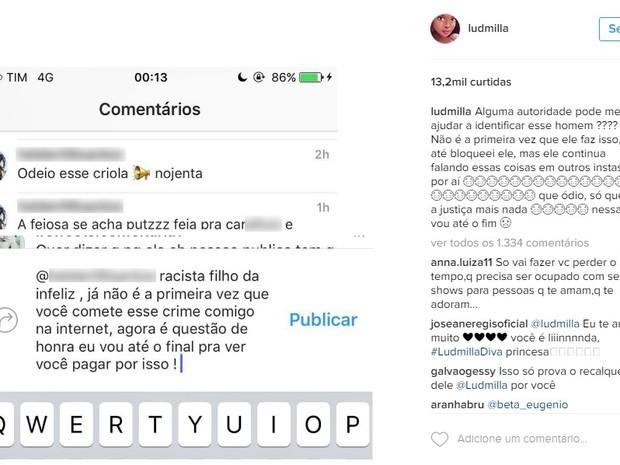 Postagem no Instagram de Ludmilla (Crédito: Reprodução)