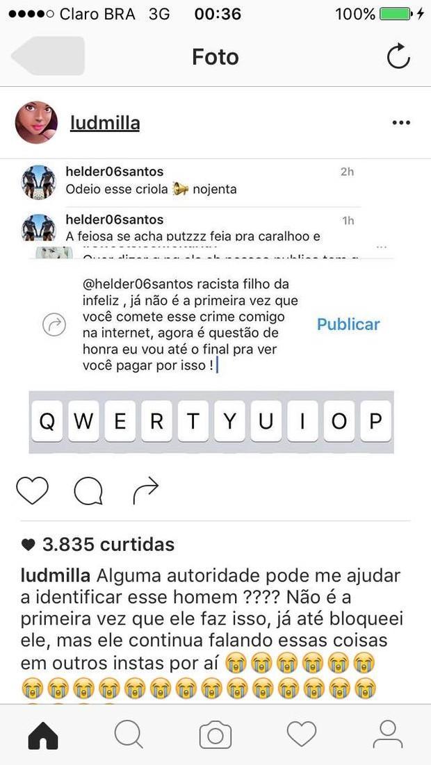 Ludmilla foi alvo de comentários racistas  (Crédito: Reprodução)
