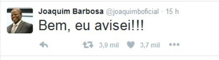 Post de Joaquim Barbosa no Twitter