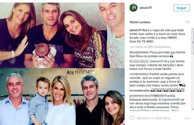 Marido de Ana Hickmann chamou irmão de herói em postagem  (Crédito: Reprodução/ Instagram)