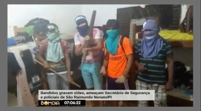 Rapazes gravaram vídeo ameaçando a polícia (Crédito: Reprodução/TV Meio Norte)